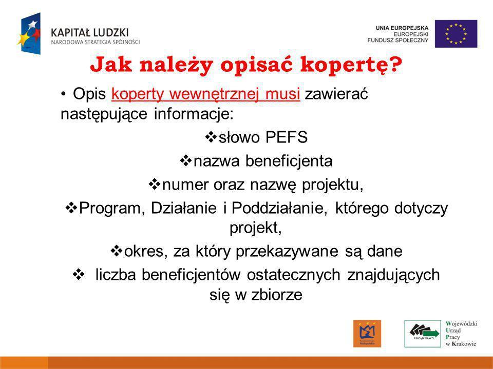 Jak należy opisać kopertę? Opis koperty wewnętrznej musi zawierać następujące informacje: słowo PEFS nazwa beneficjenta numer oraz nazwę projektu, Pro