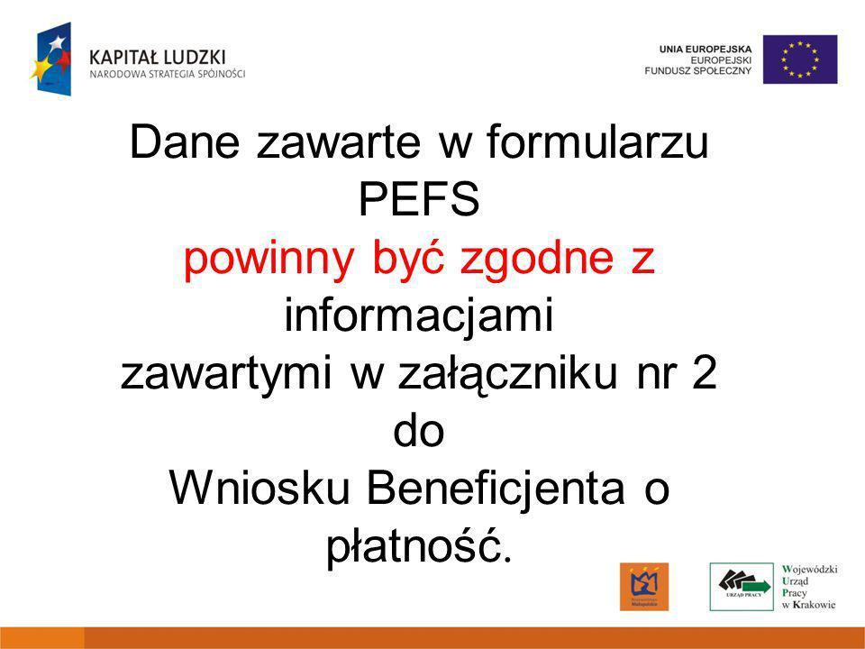 Dane zawarte w formularzu PEFS powinny być zgodne z informacjami zawartymi w załączniku nr 2 do Wniosku Beneficjenta o płatność.