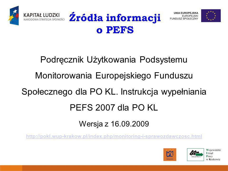 Źródła informacji o PEFS Podręcznik Użytkowania Podsystemu Monitorowania Europejskiego Funduszu Społecznego dla PO KL. Instrukcja wypełniania PEFS 200