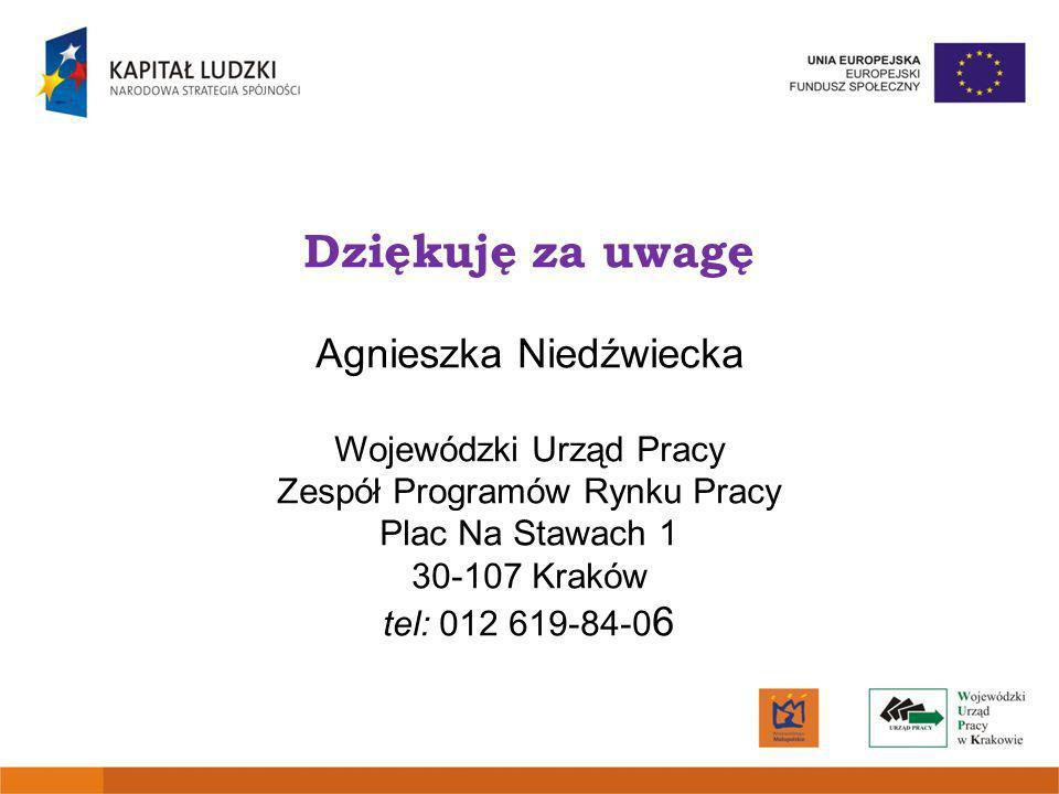 Dziękuję za uwagę Agnieszka Niedźwiecka Wojewódzki Urząd Pracy Zespół Programów Rynku Pracy Plac Na Stawach 1 30-107 Kraków tel: 012 619-84-0 6
