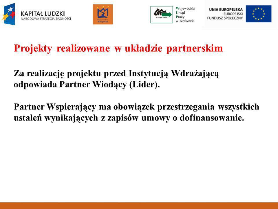 Projekty realizowane w układzie partnerskim Za realizację projektu przed Instytucją Wdrażającą odpowiada Partner Wiodący (Lider).