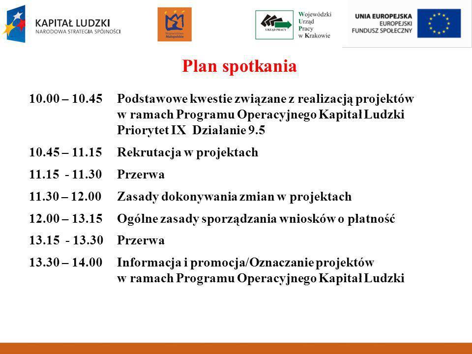 Plan spotkania 10.00 – 10.45Podstawowe kwestie związane z realizacją projektów w ramach Programu Operacyjnego Kapitał Ludzki Priorytet IX Działanie 9.5 10.45 – 11.15 Rekrutacja w projektach 11.15 - 11.30Przerwa 11.30 – 12.00 Zasady dokonywania zmian w projektach 12.00 – 13.15 Ogólne zasady sporządzania wniosków o płatność 13.15 - 13.30Przerwa 13.30 – 14.00 Informacja i promocja/Oznaczanie projektów w ramach Programu Operacyjnego Kapitał Ludzki