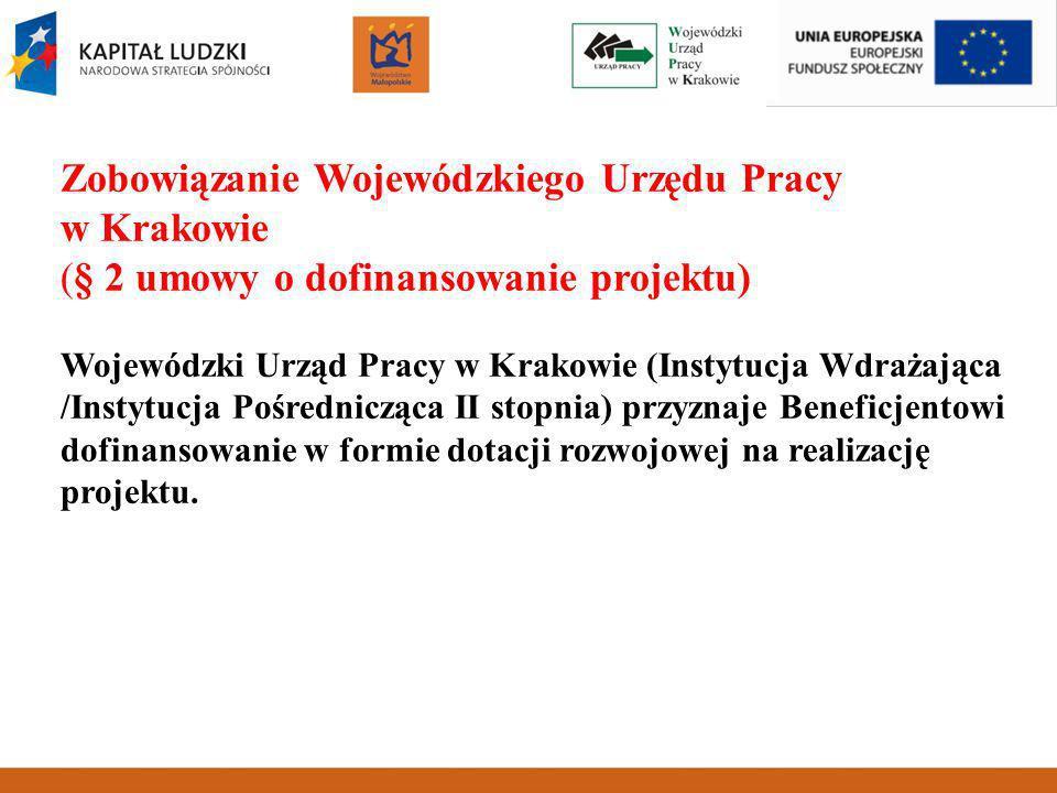 Zobowiązanie Wojewódzkiego Urzędu Pracy w Krakowie (§ 2 umowy o dofinansowanie projektu) Wojewódzki Urząd Pracy w Krakowie (Instytucja Wdrażająca /Instytucja Pośrednicząca II stopnia) przyznaje Beneficjentowi dofinansowanie w formie dotacji rozwojowej na realizację projektu.