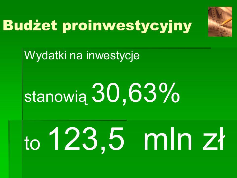 Budżet proinwestycyjny Wydatki na inwestycje stanowią 30,63% to 123,5 mln zł