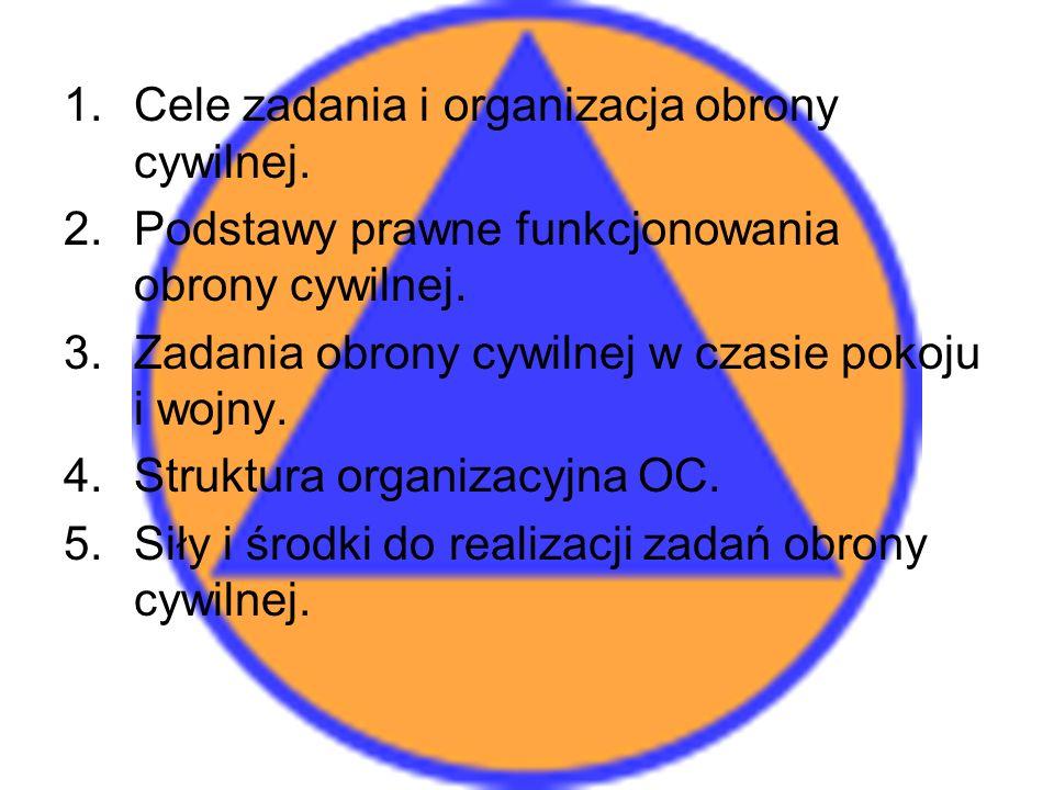 1.Cele zadania i organizacja obrony cywilnej.2.Podstawy prawne funkcjonowania obrony cywilnej.