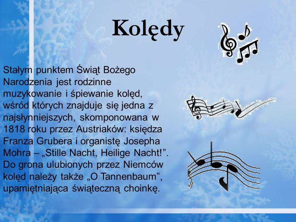 Kolędy Stałym punktem Świąt Bożego Narodzenia jest rodzinne muzykowanie i śpiewanie kolęd, wśród których znajduje się jedna z najsłynniejszych, skompo