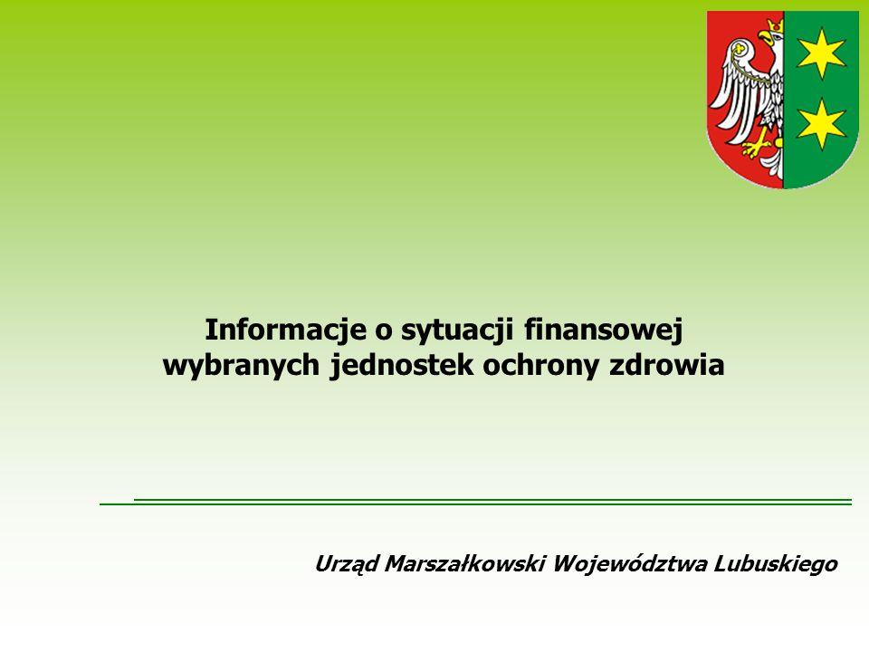 Urząd Marszałkowski Województwa Lubuskiego Informacje o sytuacji finansowej wybranych jednostek ochrony zdrowia