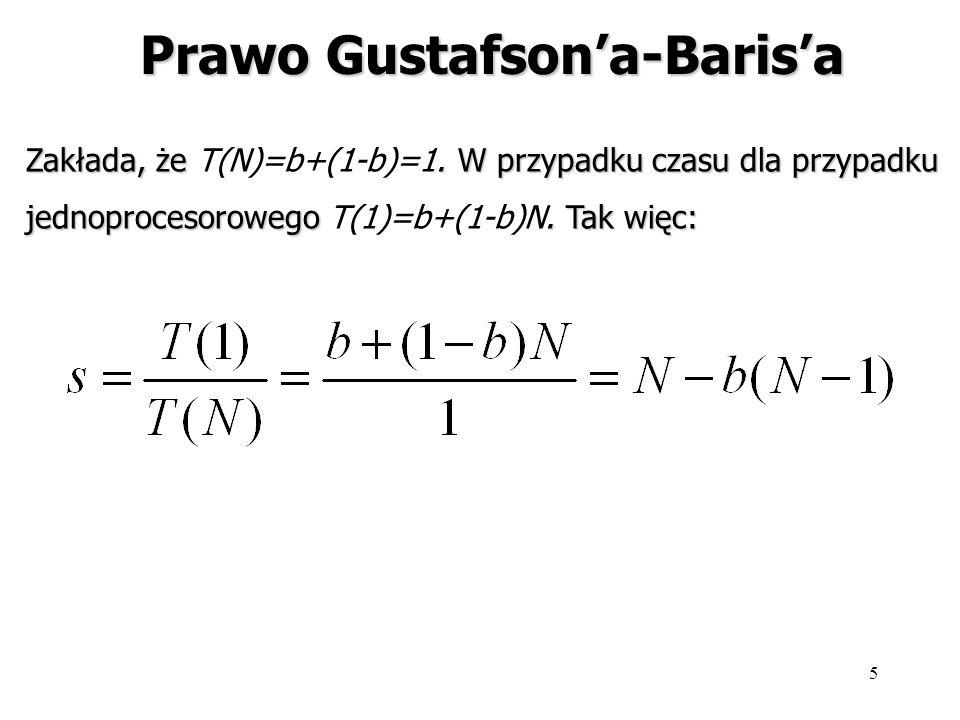 5 Prawo Gustafsona-Barisa Zakłada, że. W przypadku czasu dla przypadku Zakłada, że T(N)=b+(1-b)=1. W przypadku czasu dla przypadku jednoprocesorowego.