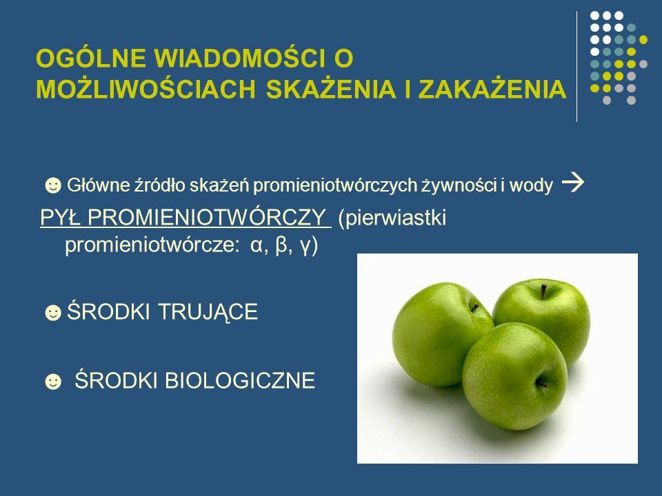 OGÓLNE WIADOMOŚCI O MOŻLIWOŚCIACH SKAŻENIA I ZAKAŻENIA Główne źródło skażeń promieniotwórczych żywności i wody PYŁ PROMIENIOTWÓRCZY (pierwiastki promi