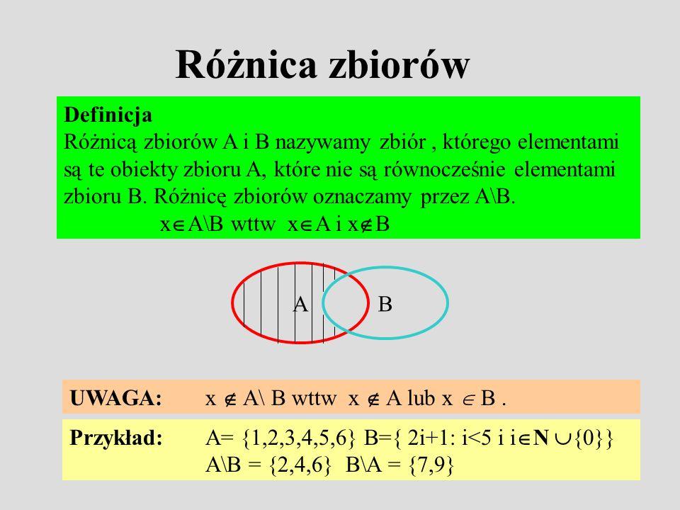 Różnica zbiorów Definicja Różnicą zbiorów A i B nazywamy zbiór, którego elementami są te obiekty zbioru A, które nie są równocześnie elementami zbioru B.