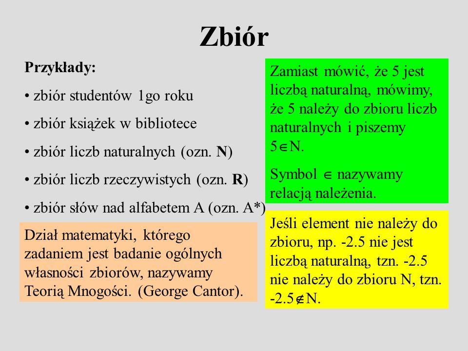 Zbiór Przykłady: zbiór studentów 1go roku zbiór książek w bibliotece zbiór liczb naturalnych (ozn.