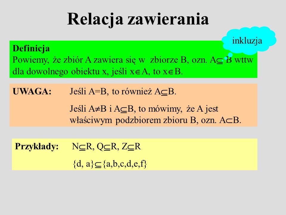 Relacja zawierania Definicja Powiemy, że zbiór A zawiera się w zbiorze B, ozn.