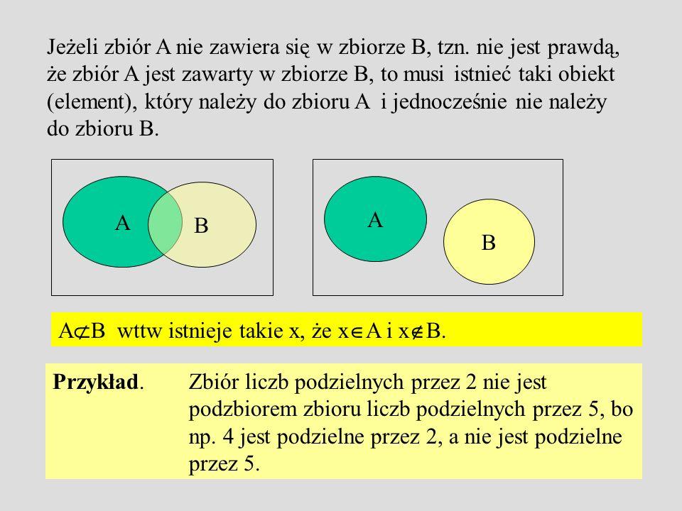 Jeżeli zbiór A nie zawiera się w zbiorze B, tzn.