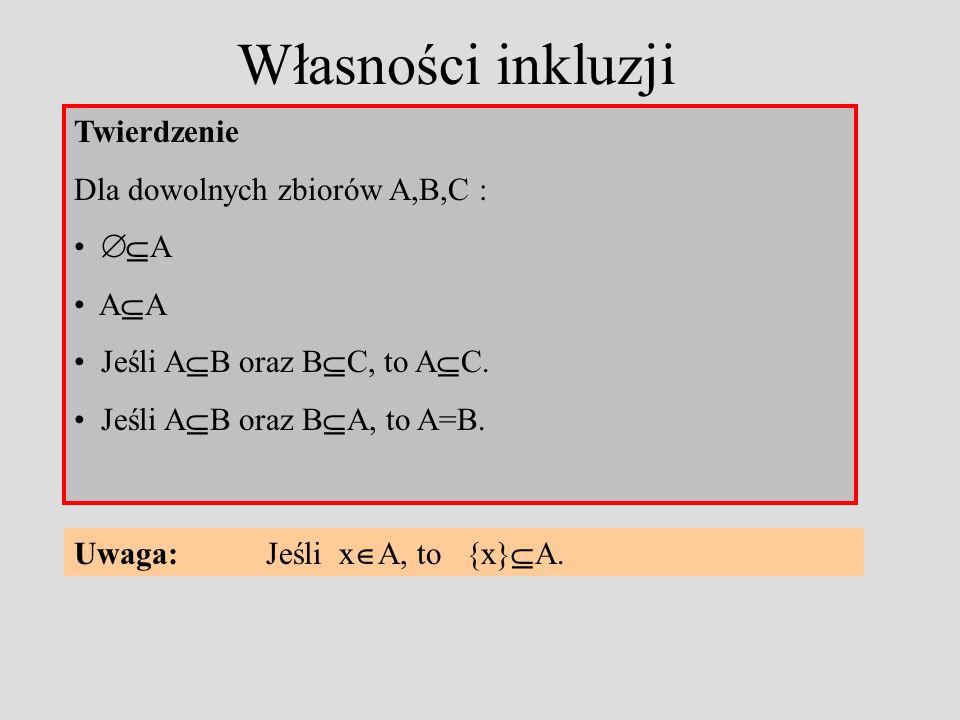 Własności inkluzji Twierdzenie Dla dowolnych zbiorów A,B,C : A A Jeśli A B oraz B C, to A C.