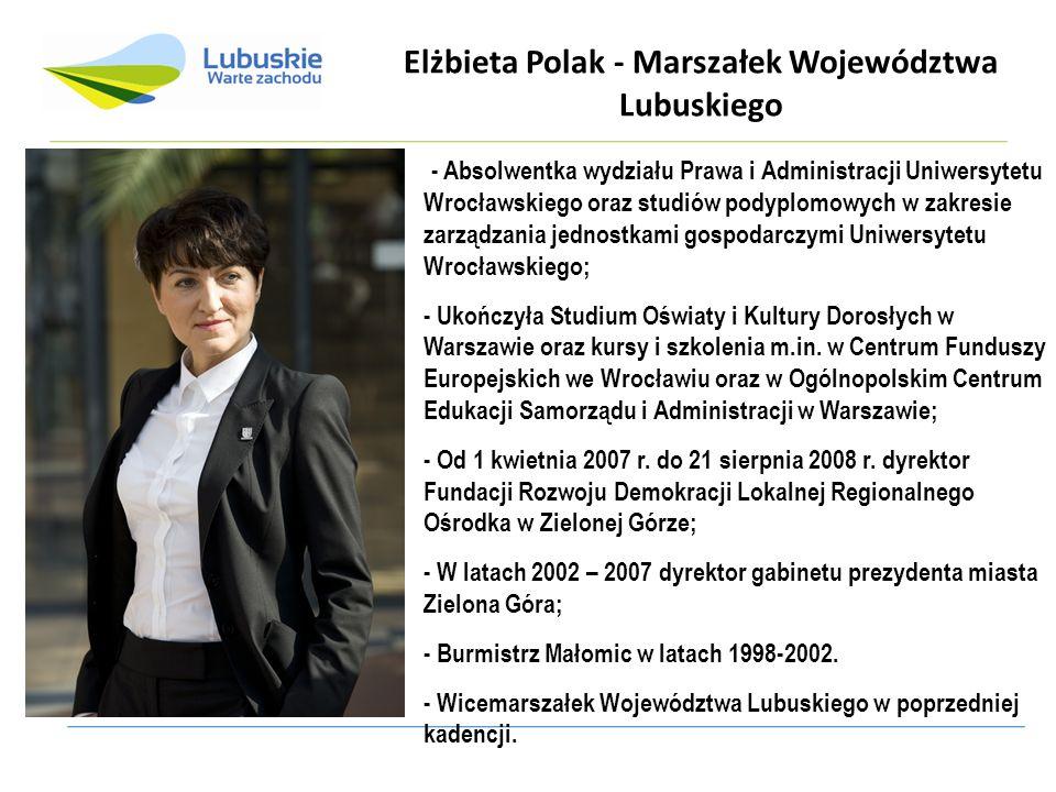 Elżbieta Polak - Marszałek Województwa Lubuskiego - Absolwentka wydziału Prawa i Administracji Uniwersytetu Wrocławskiego oraz studiów podyplomowych w