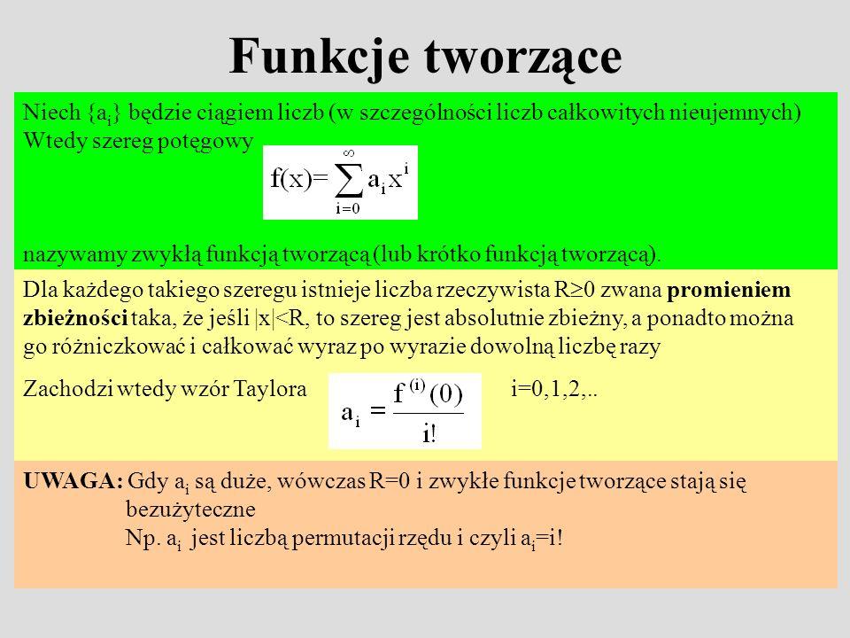 Funkcje tworzące Niech {a i } będzie ciągiem liczb (w szczególności liczb całkowitych nieujemnych) Wtedy szereg potęgowy nazywamy zwykłą funkcją tworz