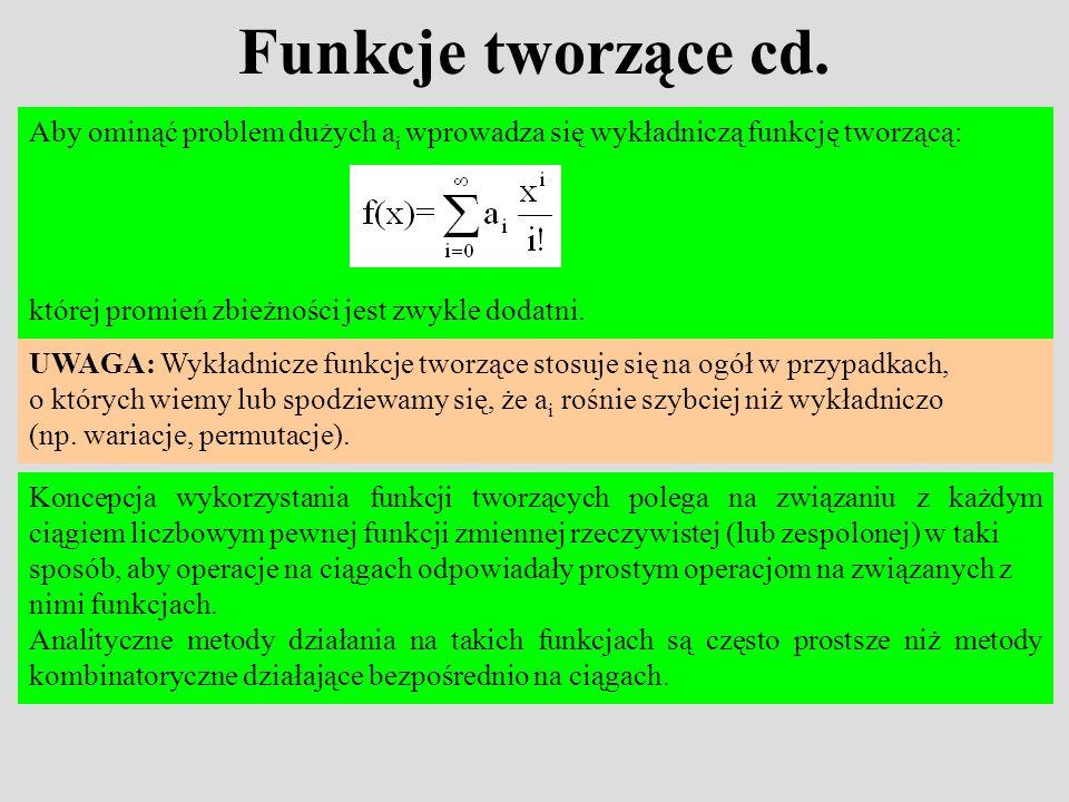Funkcje tworzące cd. Aby ominąć problem dużych a i wprowadza się wykładniczą funkcję tworzącą: której promień zbieżności jest zwykle dodatni. UWAGA: W