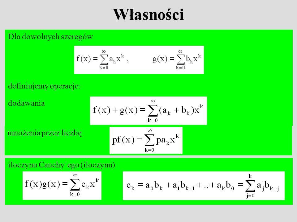 Własności Dla dowolnych szeregów definiujemy operacje: dodawania mnożenia przez liczbę iloczynu Cauchy`ego (iloczynu)