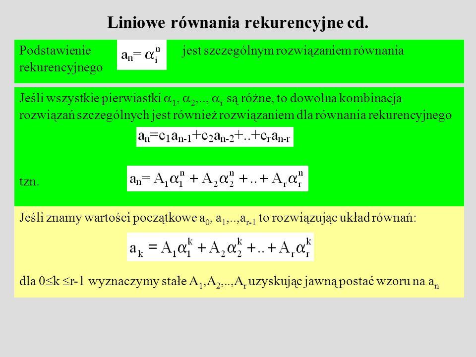 Szczególny przypadek W szczególnym przypadku, gdy zależność rekurencyjna ma głębokość dwa, można sformułować następujące stwierdzenie Wartości A 1, A 2 obliczamy z warunków początkowych rekurencji – rozwiązując odpowiedni układ dwóch równań z dwoma niewiadomymi Stwierdzenie Jeśli 1, 2 są różnymi pierwiastkami równania x 2 =c 1 x+c 2, to równanie rekurencyjne a n =c 1 a n-1 +c 2 a n-2 ma rozwiązanie postaci
