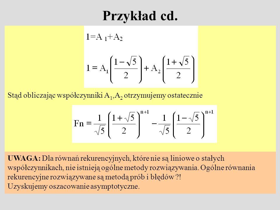 Przykład cd. Stąd obliczając współczynniki A 1,A 2 otrzymujemy ostatecznie UWAGA: Dla równań rekurencyjnych, które nie są liniowe o stałych współczynn