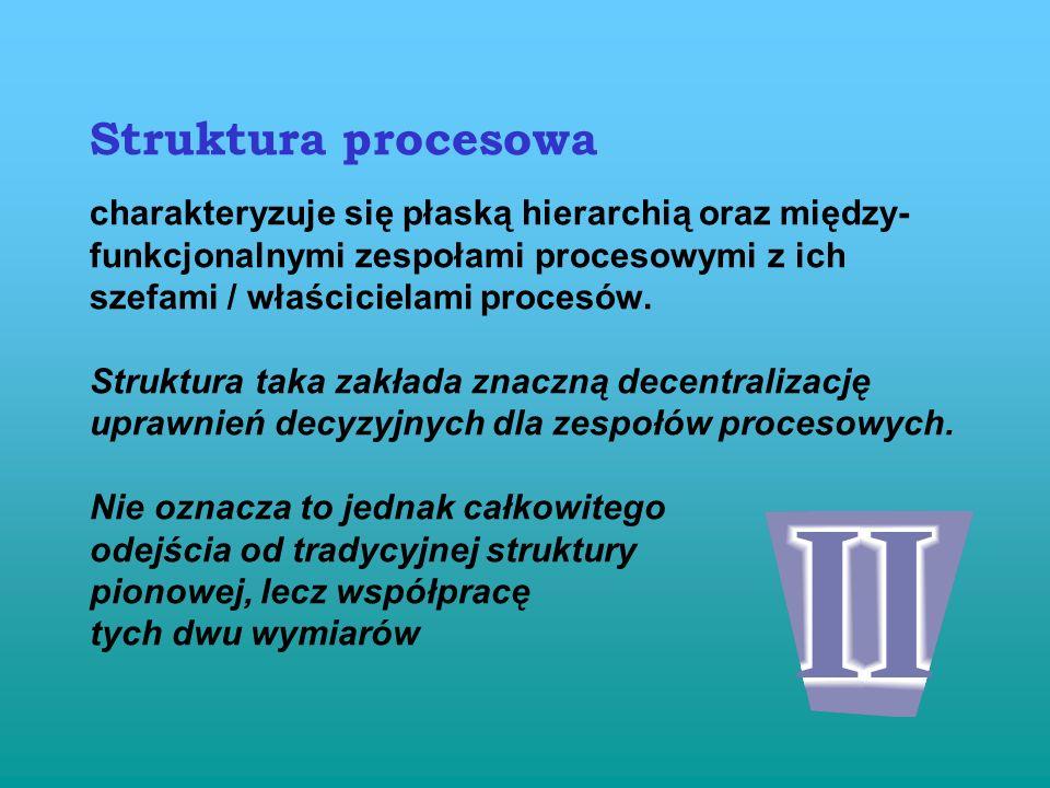 Ujęcie procesowe obejmuje całościową dokumentację procesową. Przyjęcie podejścia procesowego wiąże się z odejściem od pionowego, tradycyjnego podziału