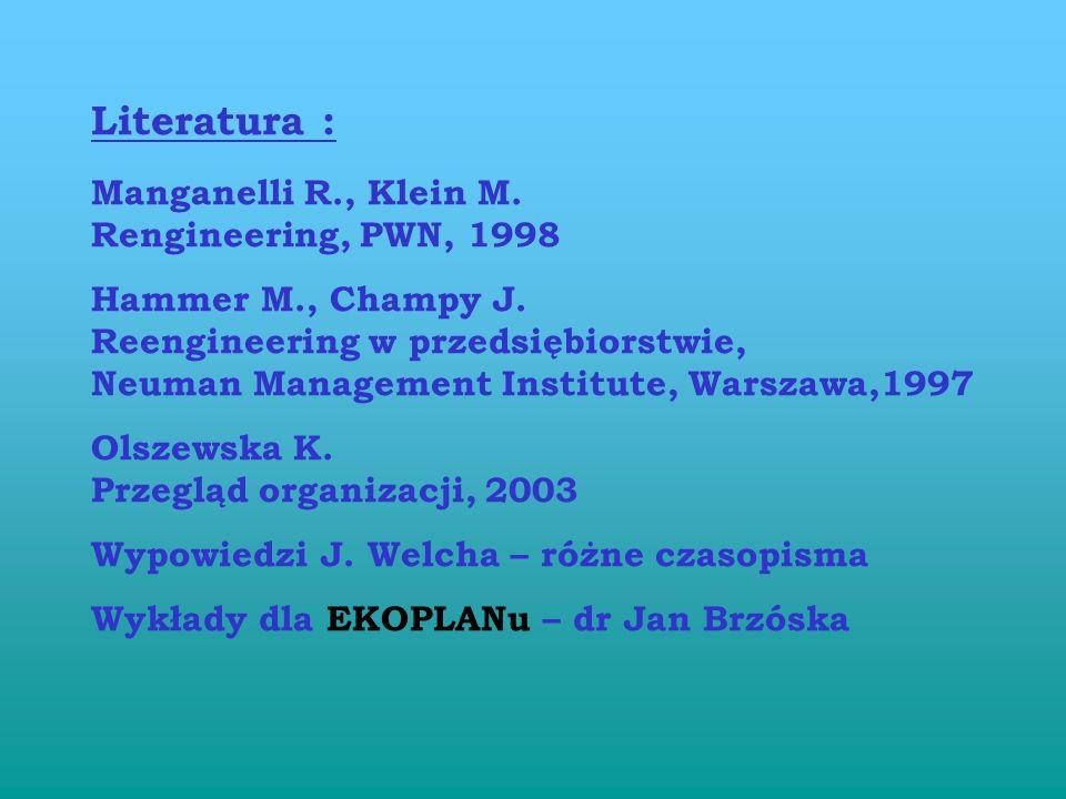 Zarządzanie procesowe a system jakości Przyjęcie w normie ISO 9000 : 2000 idei zarządzania procesowego i metodyki reengineeringu jako bazy merytoryczn