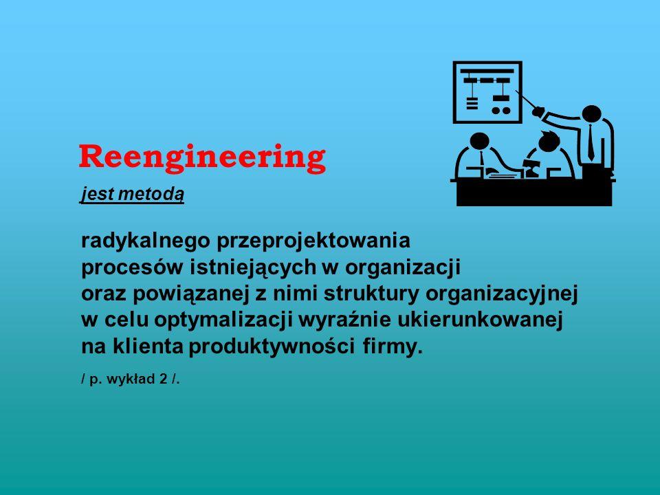 Reengineering jest metodą radykalnego przeprojektowania procesów istniejących w organizacji oraz powiązanej z nimi struktury organizacyjnej w celu optymalizacji wyraźnie ukierunkowanej na klienta produktywności firmy.