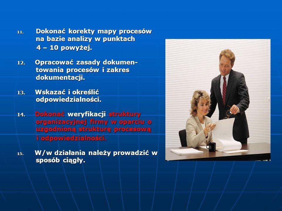 5. Ocenić mapę i poszczególne procesy z punktu widzenia klienta firmy – także grup klientów. 6. Wykonać działanie jw. w odniesieniu do dostawców. 7. O