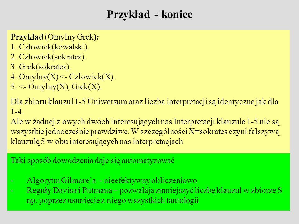 Przykład - koniec Przykład (Omylny Grek): 1. Czlowiek(kowalski). 2. Czlowiek(sokrates). 3. Grek(sokrates). 4. Omylny(X) <- Czlowiek(X). 5. <- Omylny(X