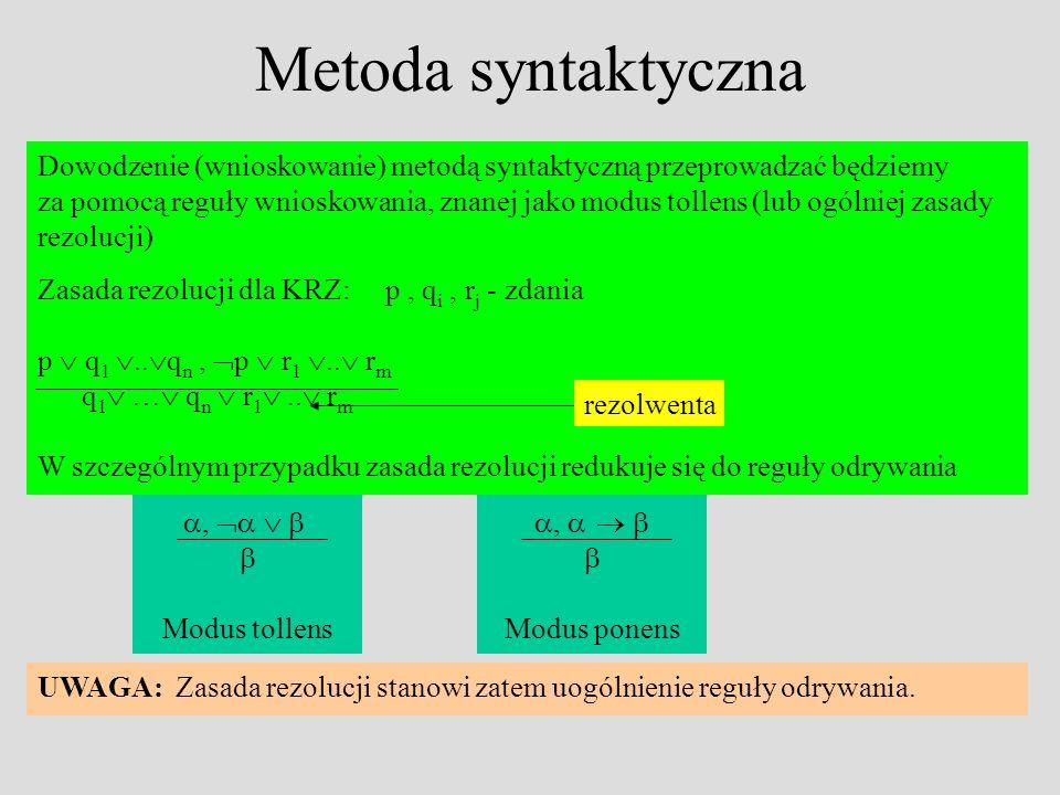 Metoda syntaktyczna Dowodzenie (wnioskowanie) metodą syntaktyczną przeprowadzać będziemy za pomocą reguły wnioskowania, znanej jako modus tollens (lub ogólniej zasady rezolucji) Zasada rezolucji dla KRZ: p, q i, r j - zdania p q 1..