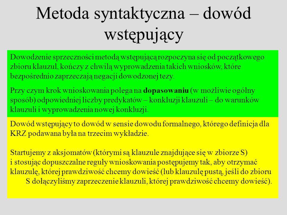 Metoda syntaktyczna – dowód wstępujący Dowodzenie sprzeczności metodą wstępującą rozpoczyna się od początkowego zbioru klauzul, kończy z chwilą wyprowadzenia takich wniosków, które bezpośrednio zaprzeczają negacji dowodzonej tezy.