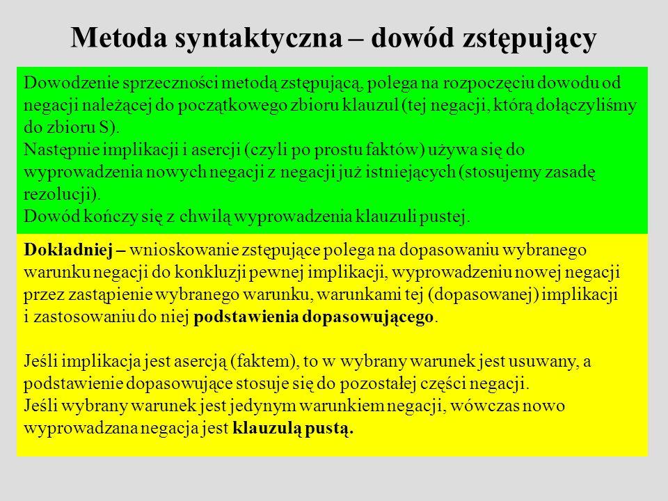 Metoda syntaktyczna – dowód zstępujący Dowodzenie sprzeczności metodą zstępującą, polega na rozpoczęciu dowodu od negacji należącej do początkowego zbioru klauzul (tej negacji, którą dołączyliśmy do zbioru S).