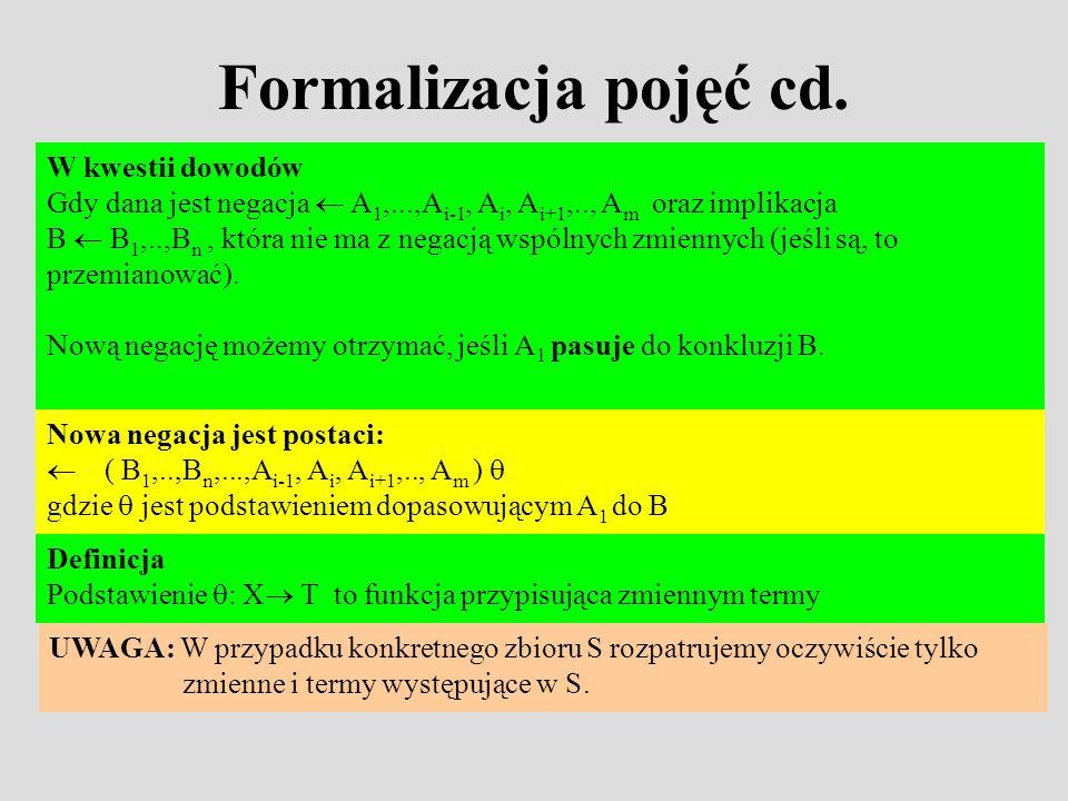 Formalizacja pojęć cd. W kwestii dowodów Gdy dana jest negacja A 1,...,A i-1, A i, A i+1,.., A m oraz implikacja B B 1,..,B n, która nie ma z negacją