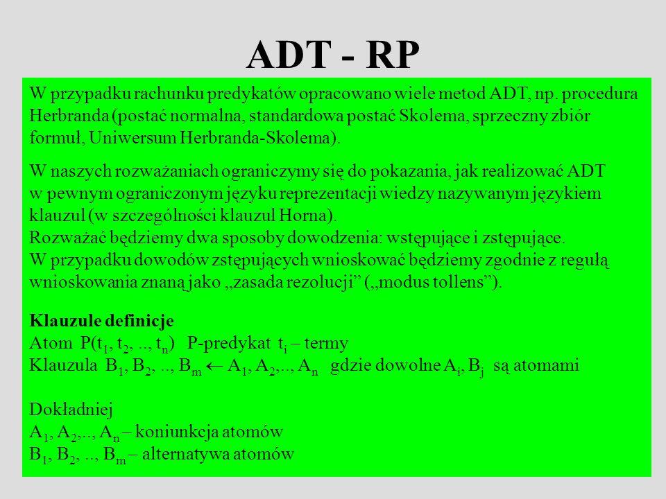 ADT - RP W przypadku rachunku predykatów opracowano wiele metod ADT, np. procedura Herbranda (postać normalna, standardowa postać Skolema, sprzeczny z