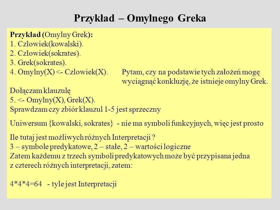 Przykład – Omylnego Greka Przykład (Omylny Grek): 1. Czlowiek(kowalski). 2. Czlowiek(sokrates). 3. Grek(sokrates). 4. Omylny(X) <- Czlowiek(X). Pytam,