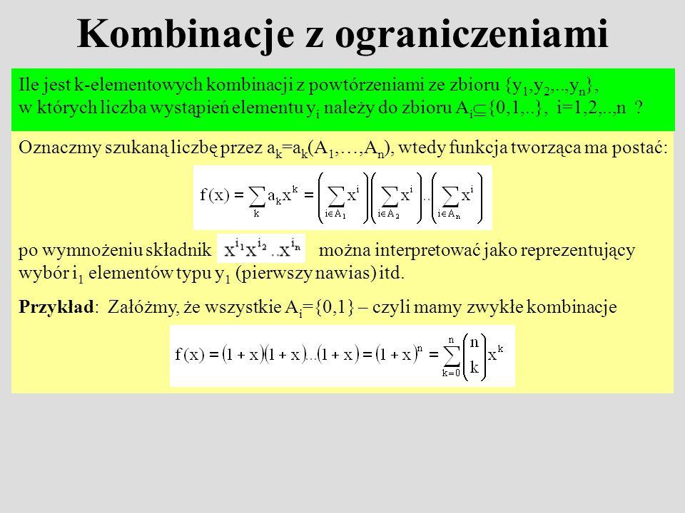 Kombinacje z ograniczeniami Ile jest k-elementowych kombinacji z powtórzeniami ze zbioru {y 1,y 2,..,y n }, w których liczba wystąpień elementu y i na