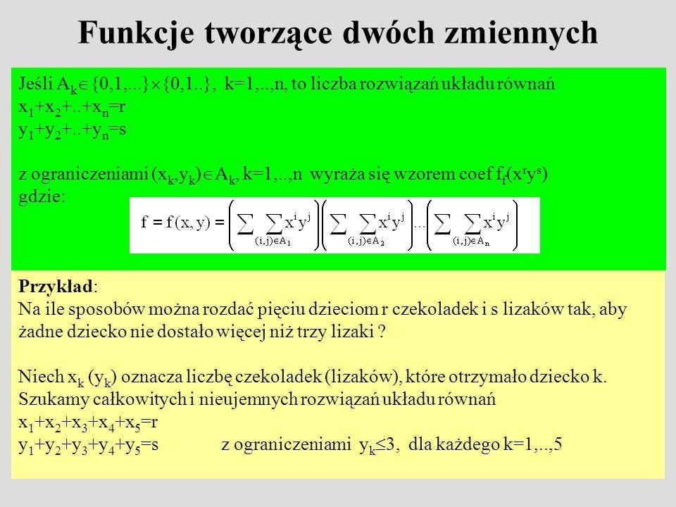 Przykład Przykład cd.: x 1 +x 2 +x 3 +x 4 +x 5 =r y 1 +y 2 +y 3 +y 4 +y 5 =sz ograniczeniami y k 3, dla każdego k=1,..,5 czyli A k ={0,1,...,r} {0,1,2,3} dla k=1,..,n Przykład cd.: Każde dziecko oprócz jednego (np.