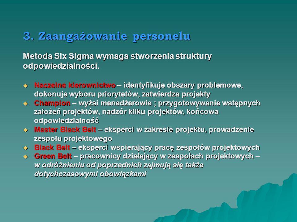 2. Przywództwo W Six Sigma niezbędne jest osobiste zaangażowanie i wsparcie przedstawicieli najwyższego kierownictwa, co powoduje zaangażowanie kierow