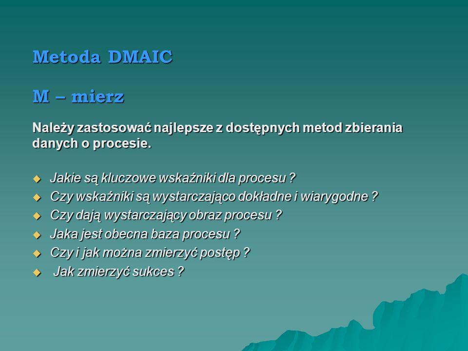 Metoda DMAIC D – definiuj Należy definiować procesy i problemy tak dokładnie, jak to możliwe. Jakie istnieją potrzeby w zakresie dot. procesu ? Jakie