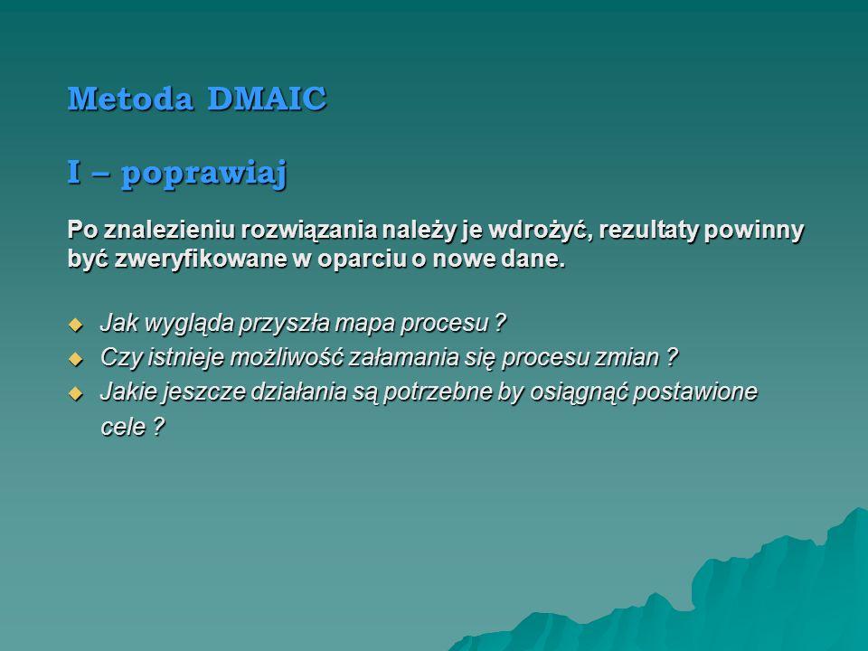 Metoda DMAIC A – analizuj Analiza ma wykazać poprawność zdefiniowania, związek i przydatność danych, określić przyczyny problemów, wskazać najlepsze r