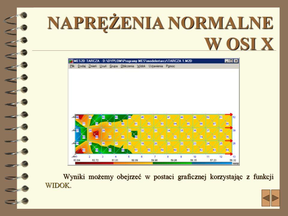 NAPRĘŻENIA NORMALNE W OSI X Wyniki możemy obejrzeć w postaci graficznej korzystając z funkcji WIDOK.