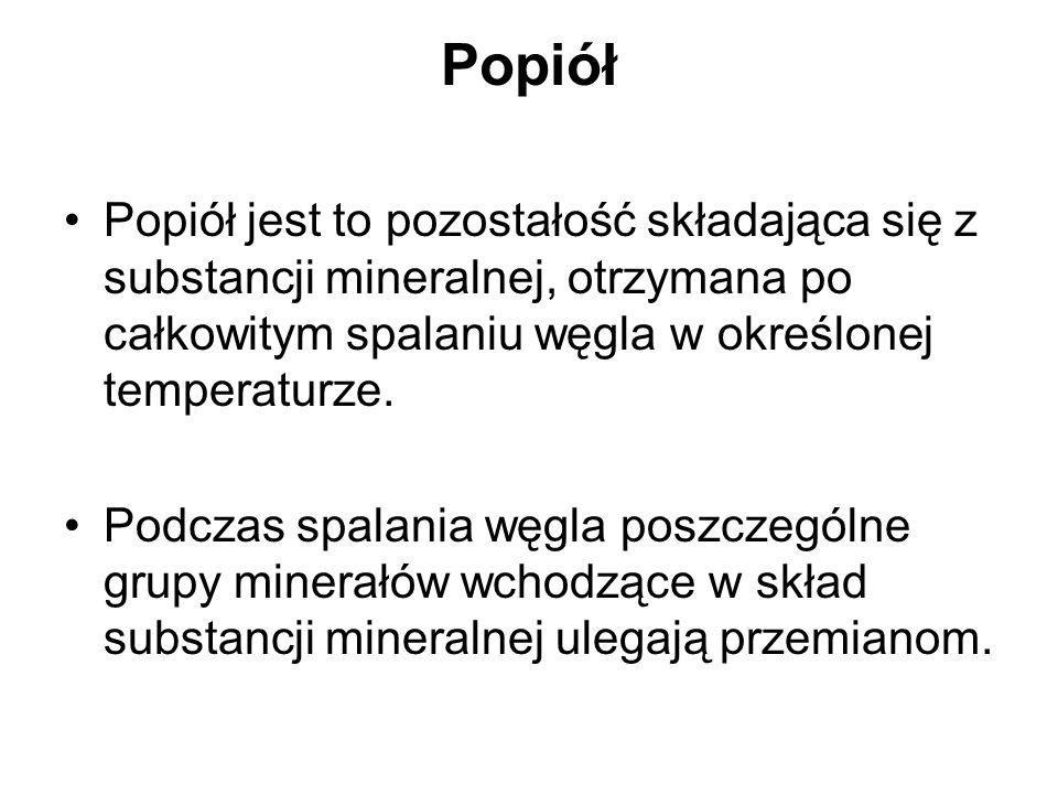 Popiół Popiół jest to pozostałość składająca się z substancji mineralnej, otrzymana po całkowitym spalaniu węgla w określonej temperaturze. Podczas sp