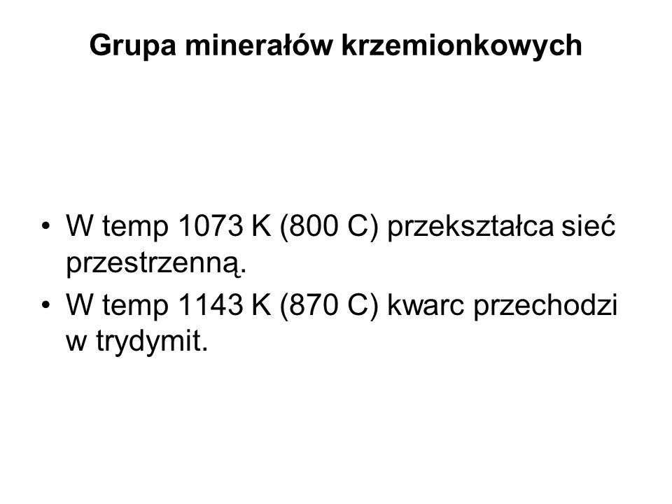 Grupa minerałów krzemionkowych W temp 1073 K (800 C) przekształca sieć przestrzenną. W temp 1143 K (870 C) kwarc przechodzi w trydymit.