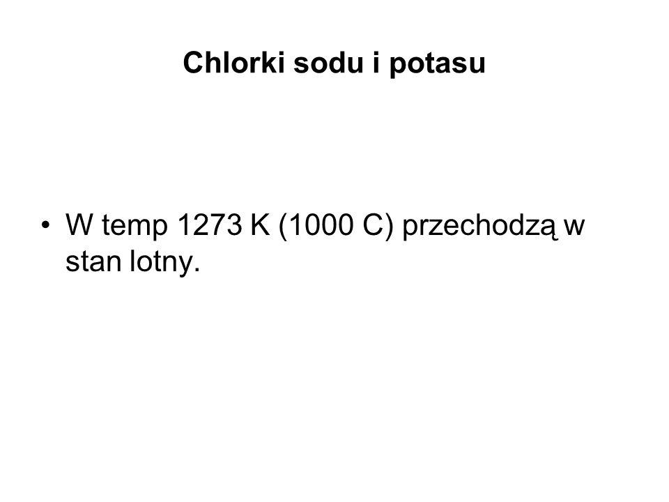 Chlorki sodu i potasu W temp 1273 K (1000 C) przechodzą w stan lotny.