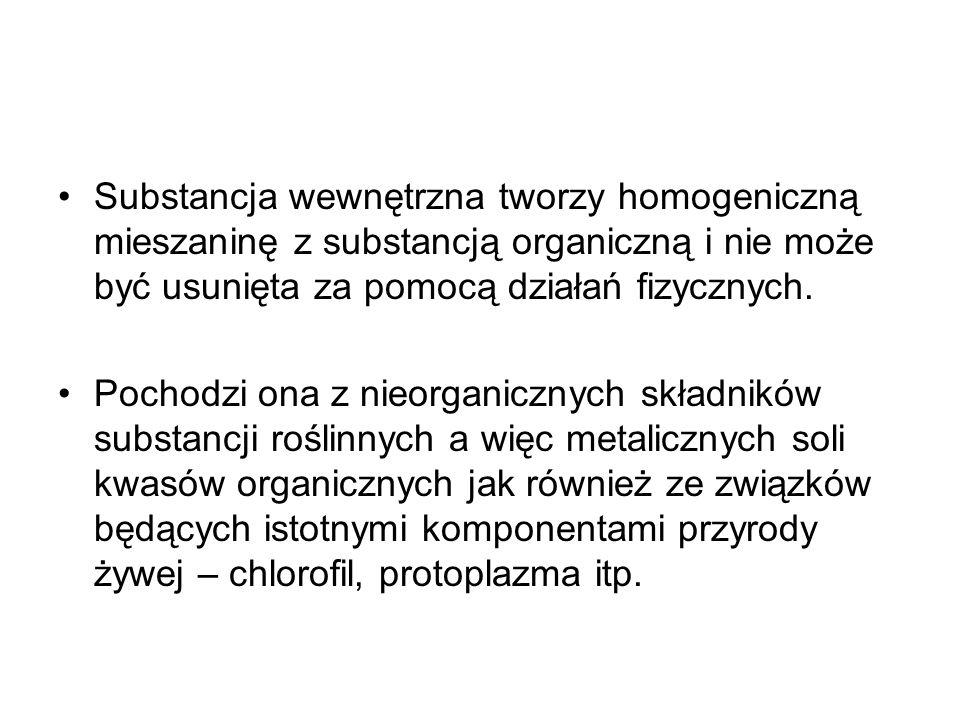Substancja wewnętrzna tworzy homogeniczną mieszaninę z substancją organiczną i nie może być usunięta za pomocą działań fizycznych. Pochodzi ona z nieo