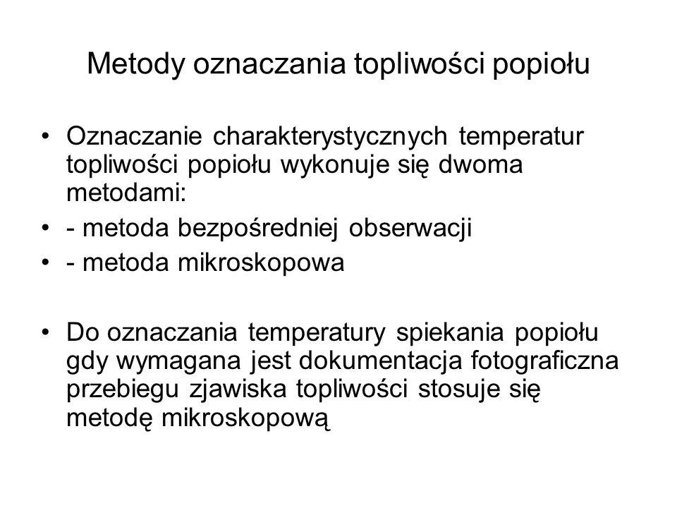 Metody oznaczania topliwości popiołu Oznaczanie charakterystycznych temperatur topliwości popiołu wykonuje się dwoma metodami: - metoda bezpośredniej