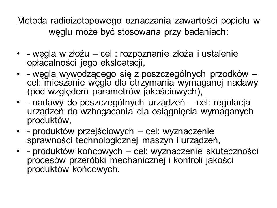 Metoda radioizotopowego oznaczania zawartości popiołu w węglu może być stosowana przy badaniach: - węgla w złożu – cel : rozpoznanie złoża i ustalenie