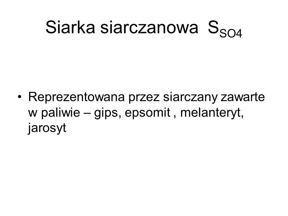 Siarka siarczanowa S SO4 Reprezentowana przez siarczany zawarte w paliwie – gips, epsomit, melanteryt, jarosyt
