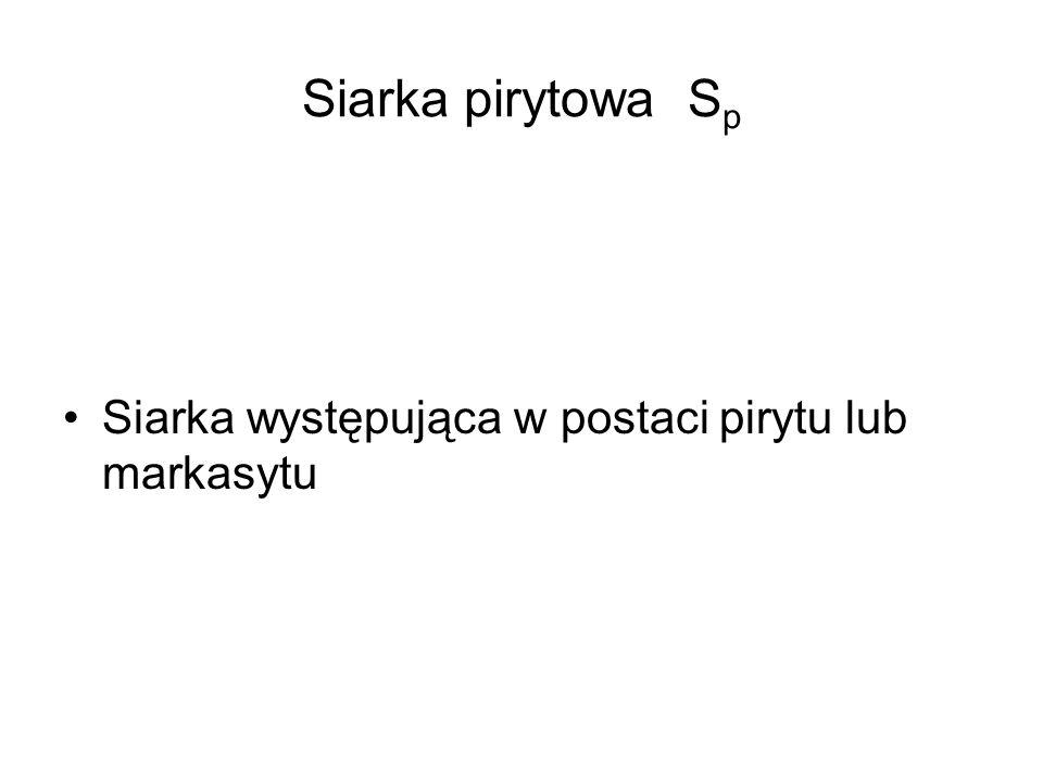 Siarka pirytowa S p Siarka występująca w postaci pirytu lub markasytu