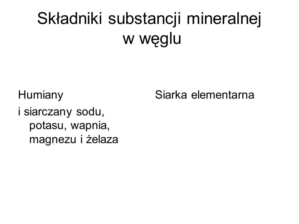 Składniki substancji mineralnej w węglu Humiany i siarczany sodu, potasu, wapnia, magnezu i żelaza Siarka elementarna